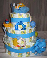 Торт из подгузников(памперсов) трехъярусный-подарок на рождение ребенка