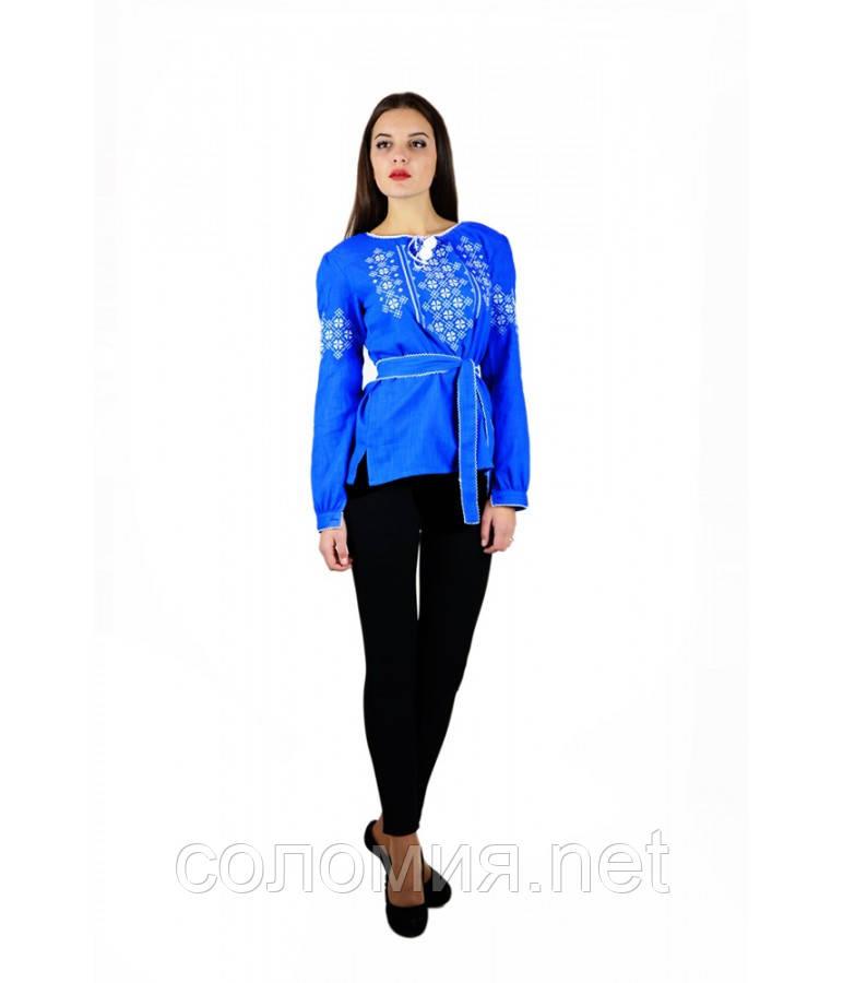 Рубашка вышитая женская с длинным рукавом синяя