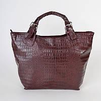Бордовая сумка шоппер в крокодиловой фактуре