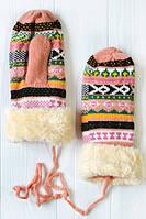 Кожаные цветные женские перчатки