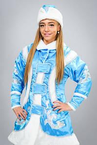 Новогодний костюм Снегурочки из атласа 46-48 р
