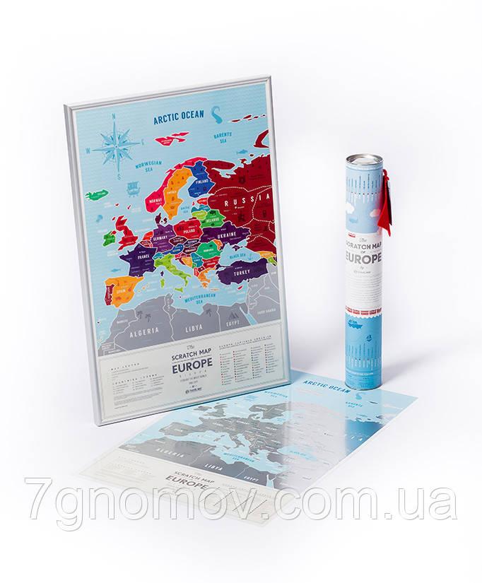 """Скретч карта мира """"Travel Map Silver Europe"""" в тубусе  - Интернет-магазин """"7 гномов"""" в Киеве"""