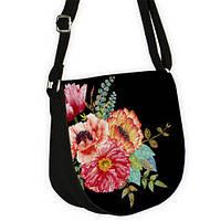 Черная женская сумка с орнаментом Маки
