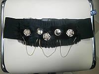 Пояс-резинка черный с натуральным мехом и золотой фурнитурой