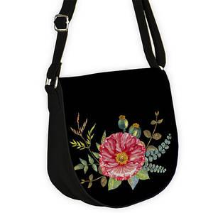 Черная женская сумка с орнаментом Мак красный