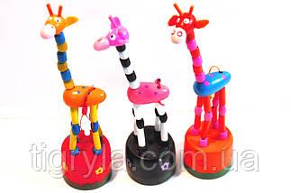 Дергунчик Жираф деревянная игрушка, фото 3