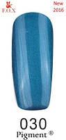Гель-лак F.O.X. № 030 голубой насыщенный с микроблеском 6 ml
