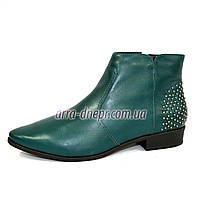 Женские зеленые кожаные демисезонные ботинки . В наличии 36-41 размеры, фото 1