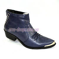 Женские синиее кожаные демисезонные ботинки-козаки . В наличии 36-41 размеры