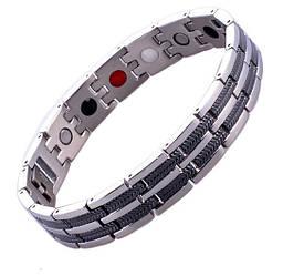 Магнітний браслет 8149 срібло c чорними смужками