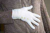 Вязаные перчатки белые