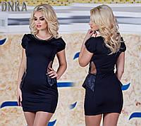 Черное короткое платье со вставками из эко-кожи, камни. Арт-9037/9