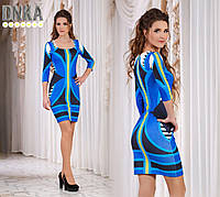 Красивое синее  короткое платье. Арт-9038/9