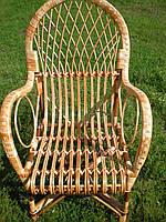 Кресло плетёное из лозы с высокой спинкой