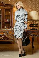 Молодежное осеннее платье из трикотажа c принтом цветов цвет серый/принт темно серый