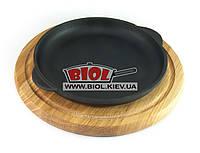 Чугунная порционная сковорода 18х2,5см на деревянной подставке 24см (дуб) ЭКОЛИТ (Украина), фото 1