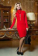 Молодежное осеннее платье из тисненого трикотажа  цвет красный