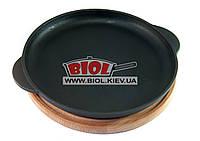 Чугунная порционная сковорода 24х2,5см на деревянной подставке 25см (бук) ЭКОЛИТ (Украина), фото 1