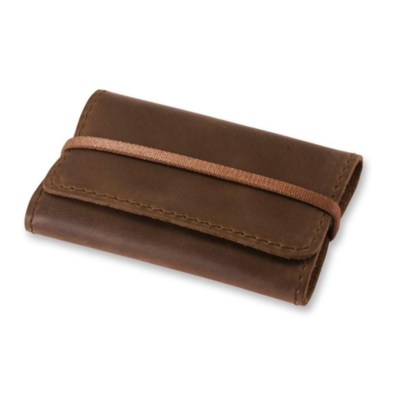 Кейс для визиток, пластиковых карт кожаный коричневый (ручная работа)