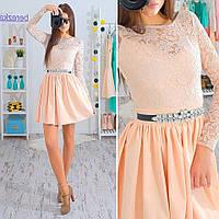 """Платье в стиле """"baby doll"""" кружевной верх и пышная юбка 4 цвета SMs833"""