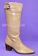 Женские бежевые демисезонные сапоги на каблуке, натуральная кожа. В наличии 36-41 размеры, фото 1