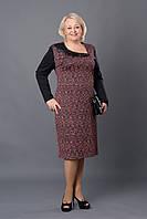 Повседневное женское платье р.52-58 черное с розовым V259