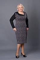 Повседневное женское платье р.52-58 черное с синим V259