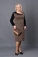 Повседневное женское платье р.52-58 черное с зеленым V259