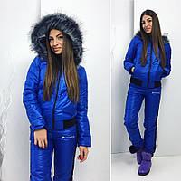 Стеганный зимний теплый спортивный  костюм  плащевка на синтепоне  куртка и штаны Columbia с чернобуркой
