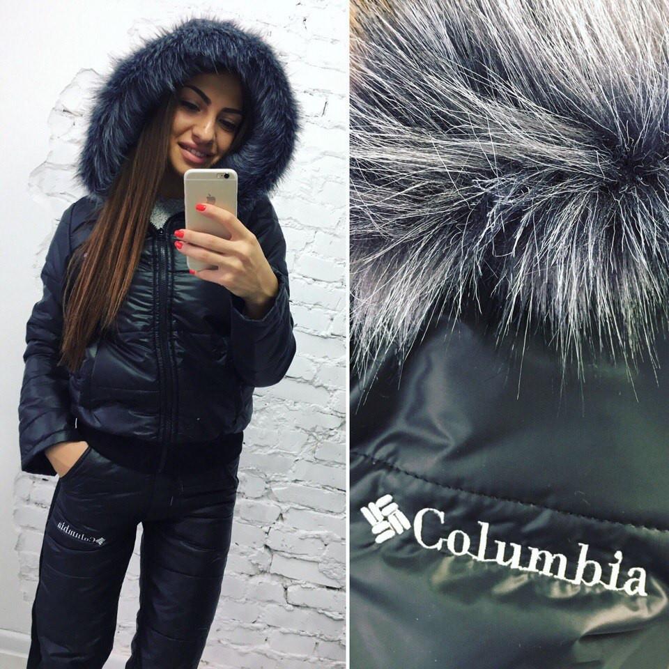 12f44e9a2086 Стеганный зимний теплый спортивный костюм плащевка на синтепоне куртка и  штаны Columbia с чернобуркой - Стильная