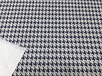 Трикотаж Модал Гусиная Лапка (т. синий на св. сером) (арт. 051239)
