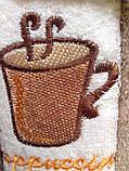 Набор махровых полотенц на кухню(кофе) 3 штуки размером 30 на 50 в подарочной упаковке., фото 2