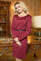 Красивое строгое  трикотажное  платье цвет бордо