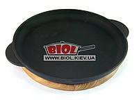 Чугунная порционная сковорода 26х2,5см на деревянной подставке 24см (дуб) ЭКОЛИТ (Украина)