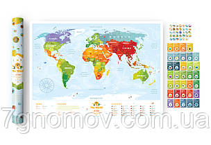 """Скретч карта мира """"Travel Map Kids Sights"""" в тубусе , фото 2"""
