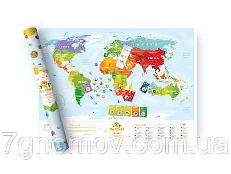 """Скретч карта мира """"Travel Map Kids Animales"""" в тубусе , фото 2"""