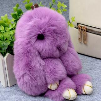 Брелок на сумку меховой кролик Rex Fendi charm (Рекс Фенди) фиолетовый, 14 см