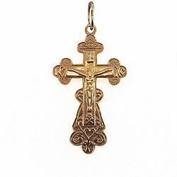Хрест Спаси і Збережи з червоного золота 585