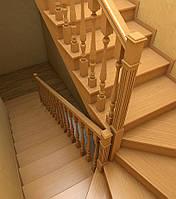 Лестница деревянная с поворотными / угловыми ступенями