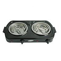 Плита электрическая Лемира двухконфорочная на 2,0  кВт тэновая. Черная