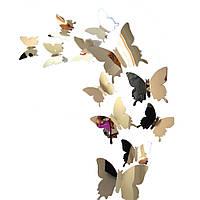 Інтер'єрні наклейки 3D Метелики дзеркальні сталеві, набір 12 шт.