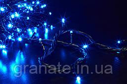 Уличная гирлянда светодиодная Нить, цвет: синий 10 м, черный провод, мерцает IP-44