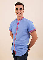 Нарядная льняная сорочка вышиванка в голубом цвете с геометрическим орнаментом