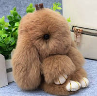 Брелок на сумку меховой кролик Rex Fendi charm (Рекс Фенди) рыжий, 14 см