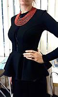 Строгий костюм в украинском стиле ткань джерси, женский деловой костюм в украинском стиле от производителя