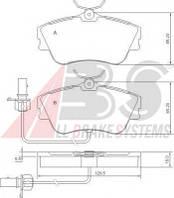 Гальмівні колодки передні з датчиком (R15, суцільний диск,129.7x65.2x19mm) VW T4 90-03 37274 ABS (Нідерланди)