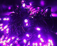 УЛИЧНАЯ ГИРЛЯНДА СВЕТОДИОДНАЯ НИТЬ 100 LED, РОЗОВЫЙ 10 м на черном проводе