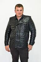 Мужская кожаная куртка теплая стеганная