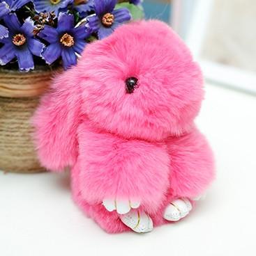 Брелок на сумку меховой кролик Rex Fendi charm (Рекс Фенди) розовый, 14 см