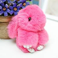 Брелок на сумку меховой кролик Rex Fendi charm (Рекс Фенди) розовый, 14 см, фото 1